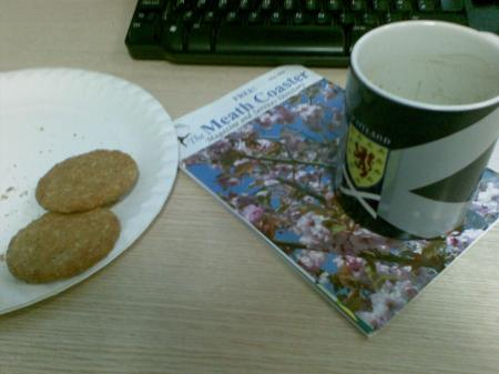 Cup, biccies, Coaster